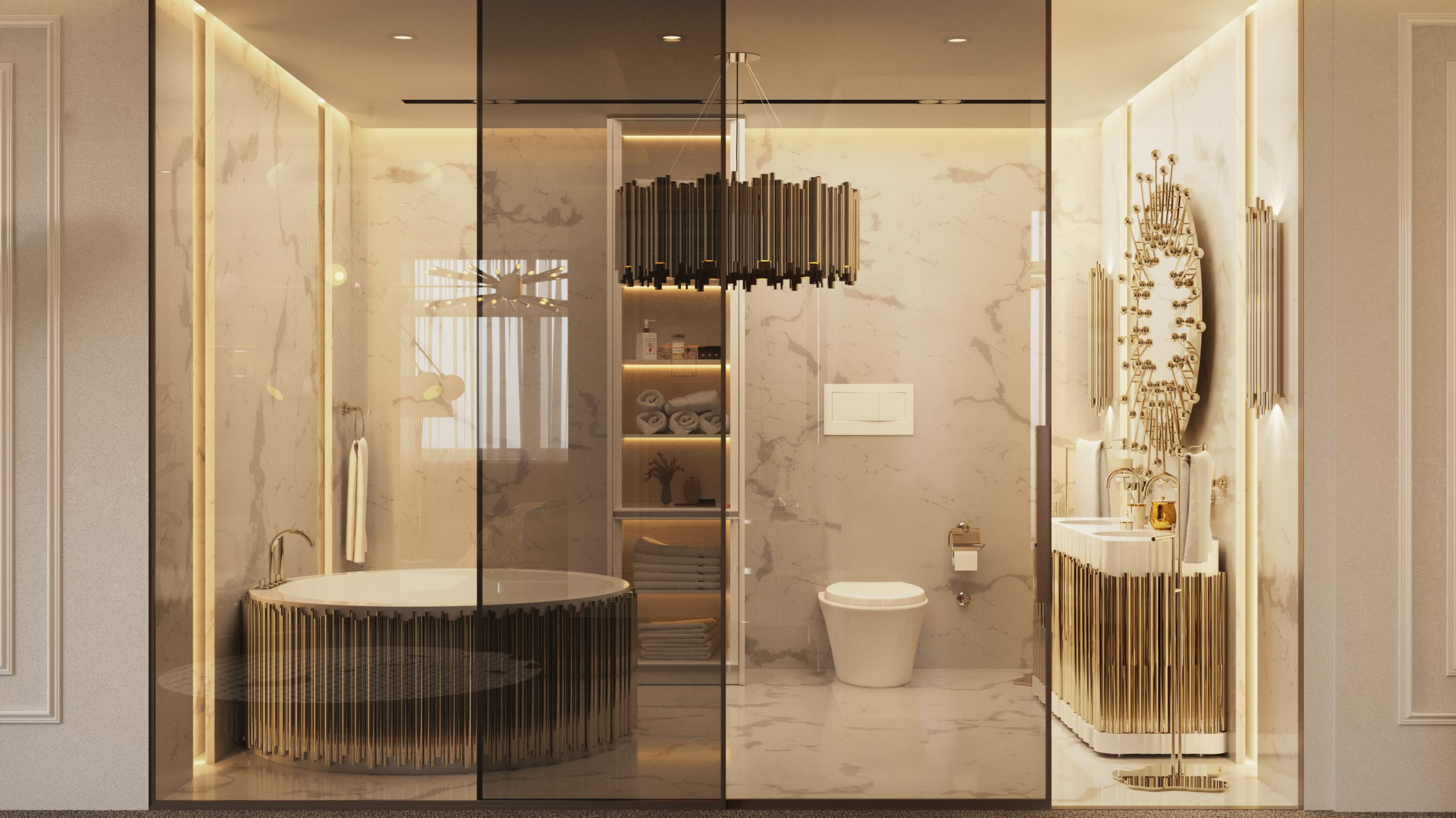 WHITE AND GOLD BATHROOM OF NYC APARTMENT