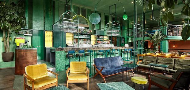 bar Bar Botanique Cafe Tropique: discover a rainforest-like feel bar botanique studio modijefsky amsterdam dutch netherlands green forest rainforest tropical foliage dezeen 936 14