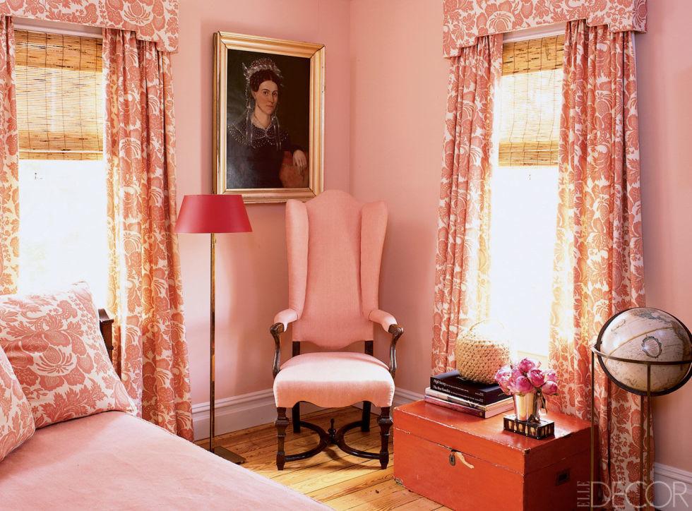 Шторы розовые для спальни дизайн