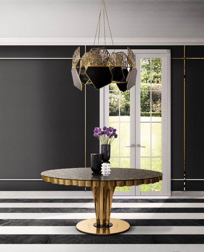 black 50 Unforgettable Black Home Accents and Interior Decorating Ideas Essential Home Wormley Dining Table 01