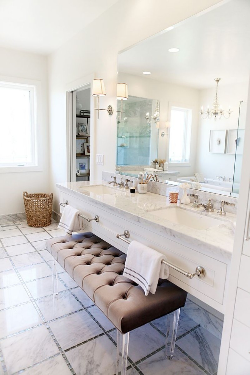 5 Inspiring Ways of Using a Mid-Century Chair in Your Home Decor mid-century chair 5 Inspiring Ways of Using a Mid-Century Chair in Your Home Decor Tufted bench with lucite legs for bathroom vanity
