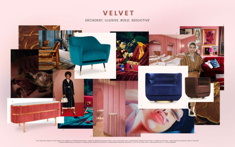 moodboard trends moodboard trends Moodboard Trends: Velvet Is Back! velvet design trends 2019