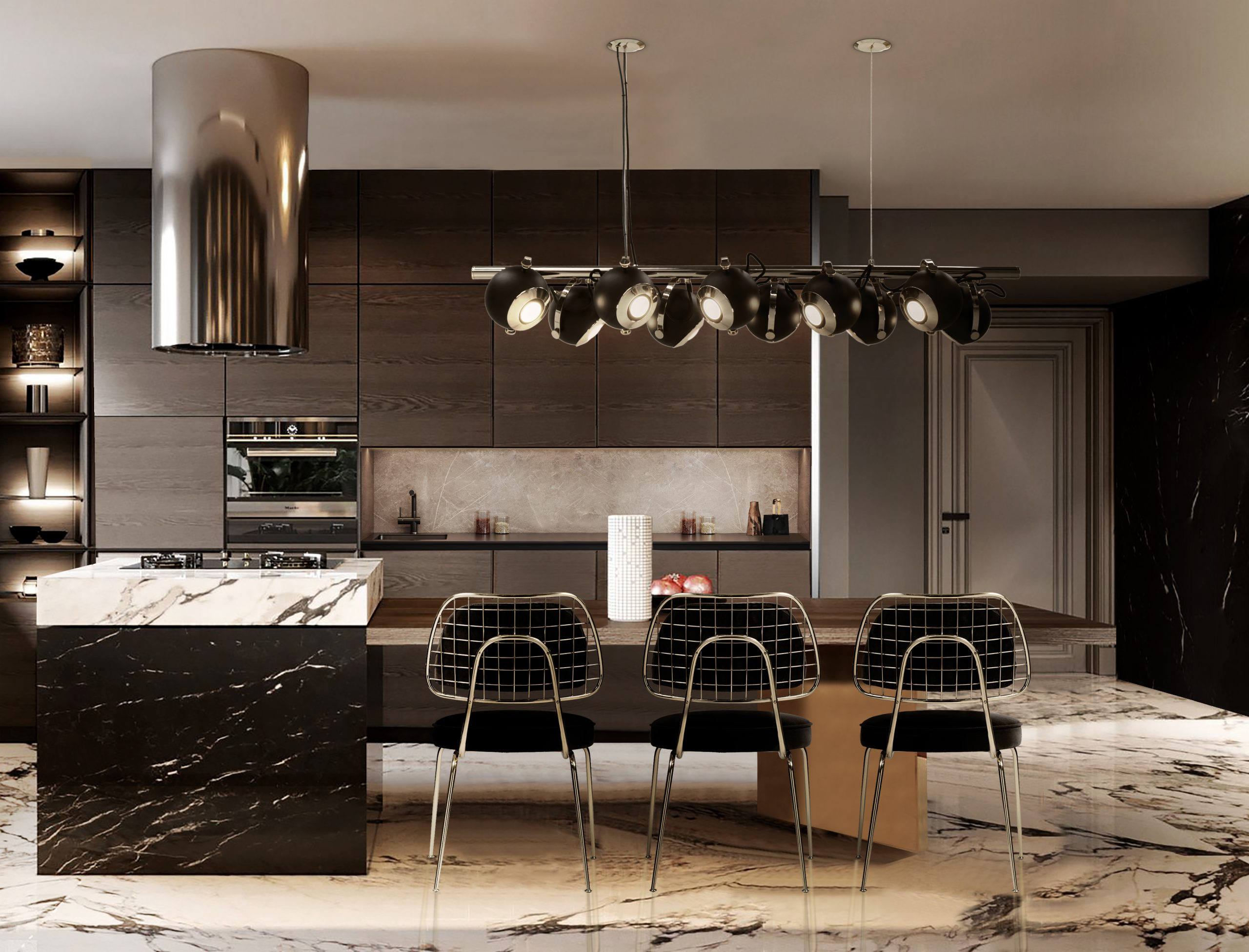 LUXURIOUS BLACK AND WHITE MARBLE KITCHEN DESIGN