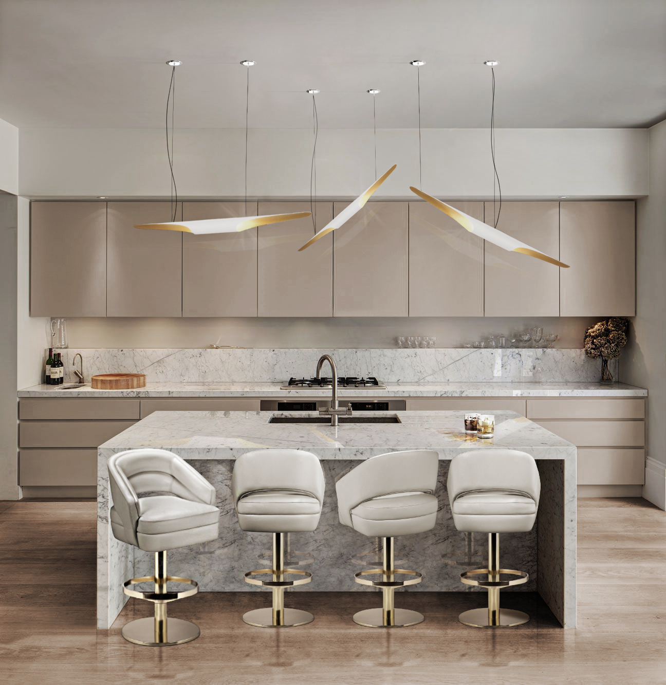 WHITE AND GOLD CLASSIC KITCHEN DESIGN